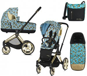 Cybex Priam III Jeremy Scott Cherubs | 2-в-1 (FE JS Cherubs Blue + Накидка и сумка)