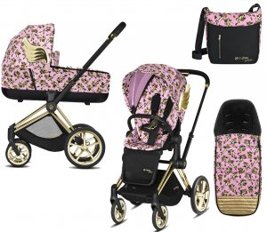 Cybex Priam III Jeremy Scott Cherubs | 2-в-1 (FE JS Cherubs Pink + Накидка и сумка)